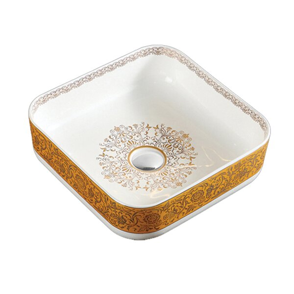 Above Ceramic Square Vessel Bathroom Sink by Hometure
