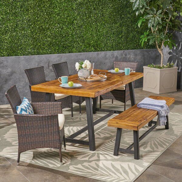 Loyce 6 Piece Teak Dining Set with Cushions by Williston Forge