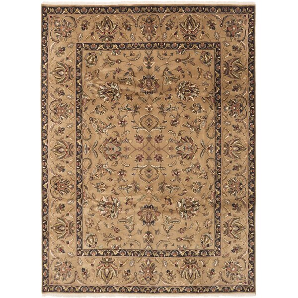 Maryjane Finest Agra Jaipur Hand-Knotted Wool Tan Area Rug by Canora Grey