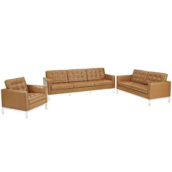 Gayatri 3 Piece Leather Living Room Set by Orren Ellis