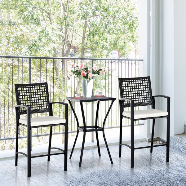 Eleanor Outdoor 3 Piece Bistro Set with Cushions by Gracie Oaks