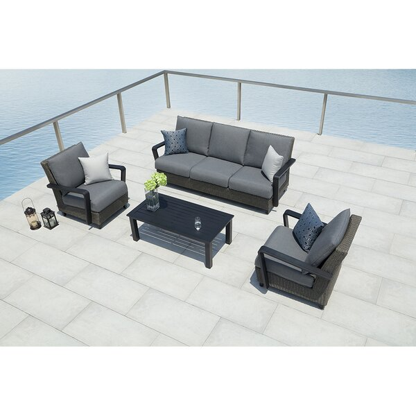 Augusta 4-Piece Sunbrella Sofa Set with Cushions by Ove Decors