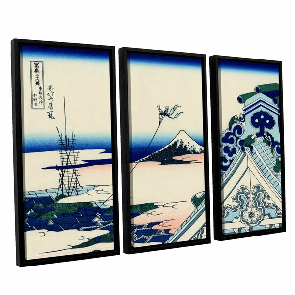 Asakusa Honganji Temple in The Eastern Capital by Katsushika Hokusai 3 Piece Painting Print on Wrapped Canvas Set by ArtWall