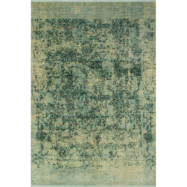 Stevan Hand-Knotted Wool Cream/Blue Area Rug by Bloomsbury Market
