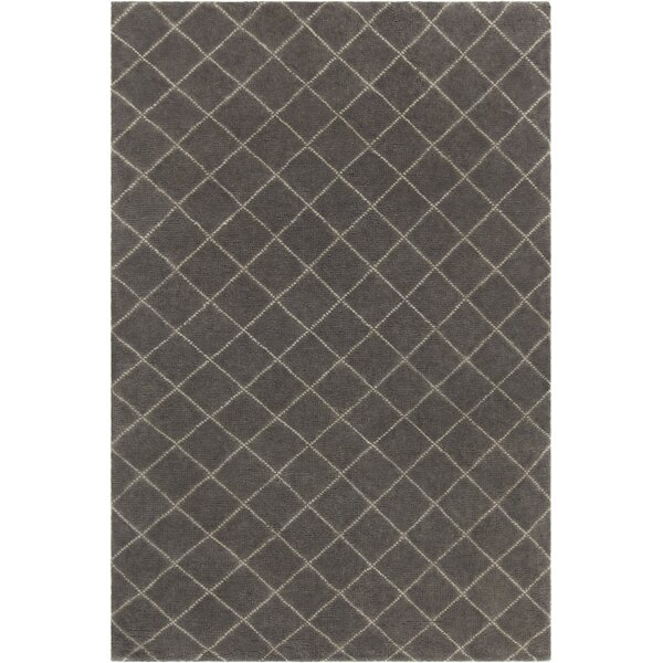 Tenafly Patterned Knotted Contemporary Wool Charcoal Area Rug by Gracie Oaks