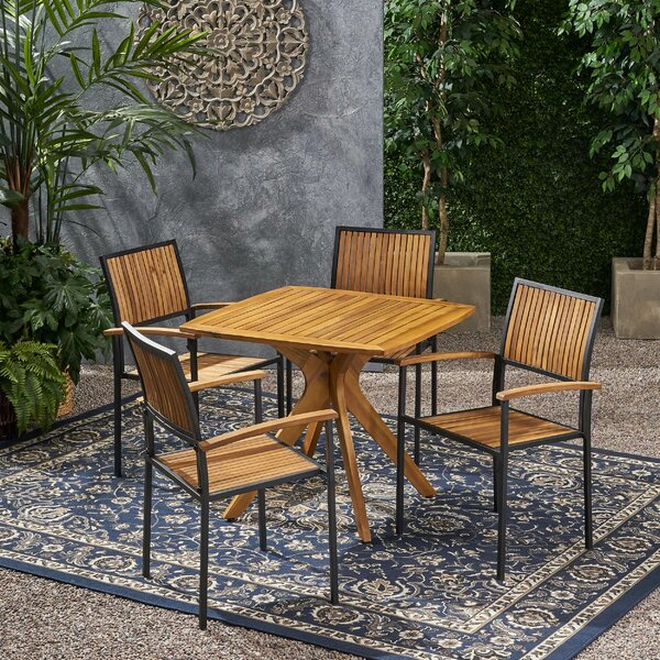 Hartt Outdoor 5 Piece Dining Set by Union Rustic