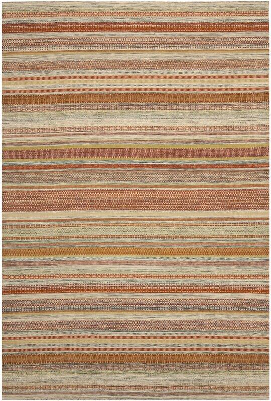 Safavieh Striped Kilim Hand Woven Wool Brown Beige Area