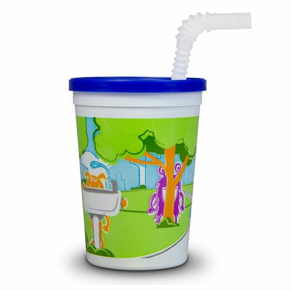 Monsters in the Park Reusable 12 oz. Plastic Kid Cup with Lid and Straw (Set of 250) by ePackageSupply