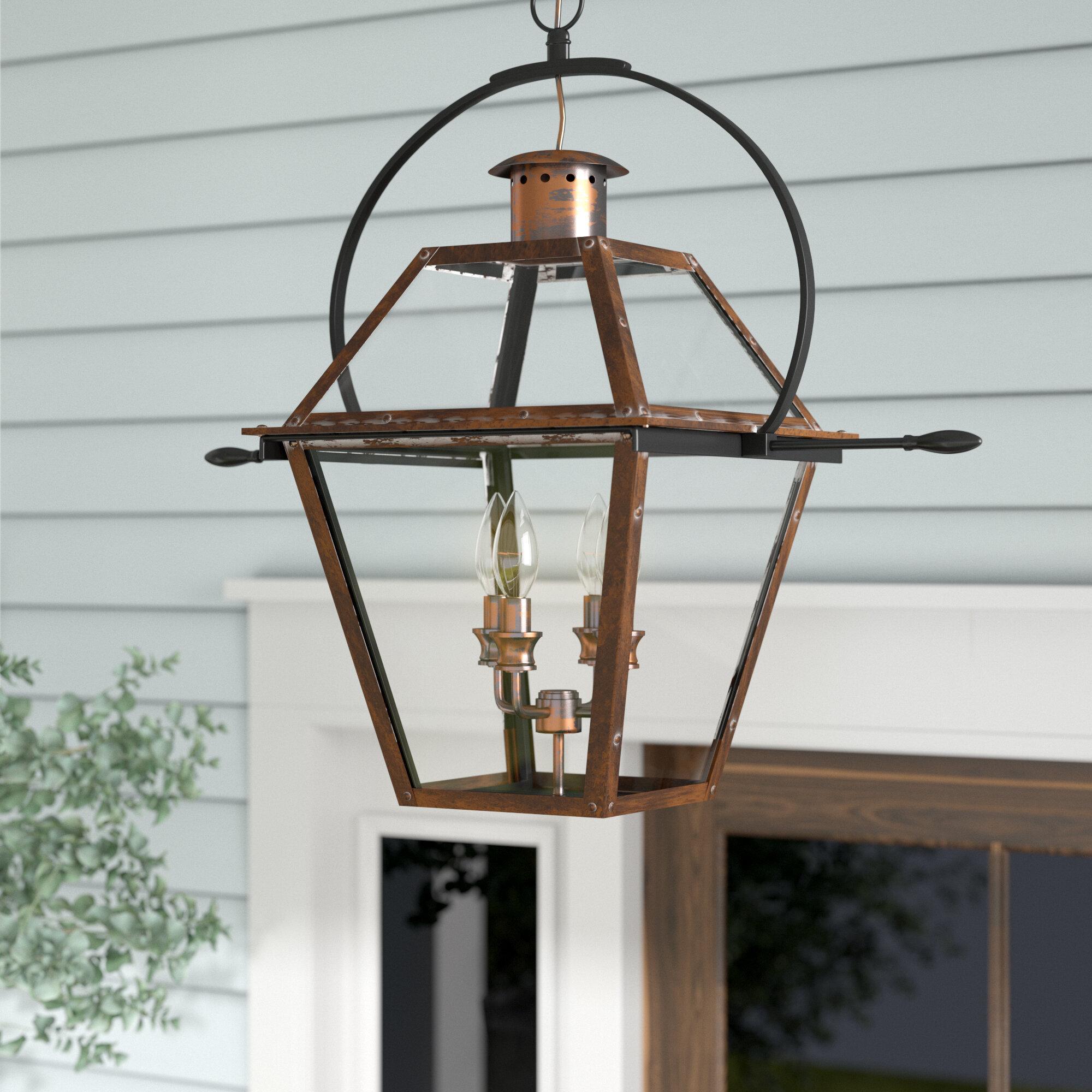 Laurel Foundry Modern Farmhouse Lois 4 Light Outdoor Hanging Lantern &