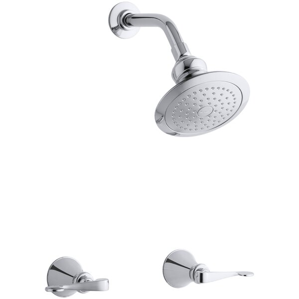 Revival Shower Faucet Set with Scroll Lever Handles and Single-Function Shower Head, Standard Showerarm and Flange by Kohler