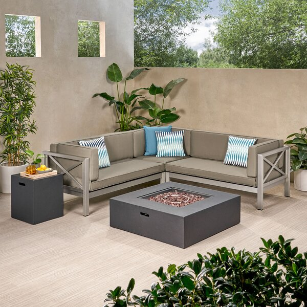 Kendall Outdoor 5 Piece Sofa Seating Group with Cushions