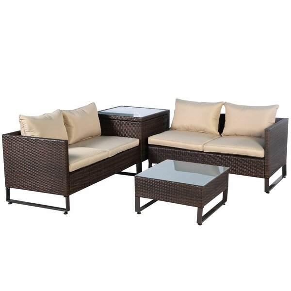 Admira 4 Piece Rattan Seating Group with Cushions by Latitude Run