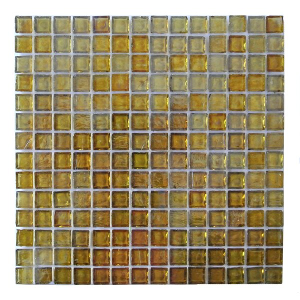 LEED Amber 0.75 x 0.75 Glass Mosaic Tile in Gold by Abolos