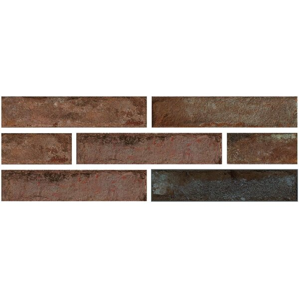 Brick One 3 x 12 Porcelain Field Tile in Rosso Berlino by Travis Tile Sales