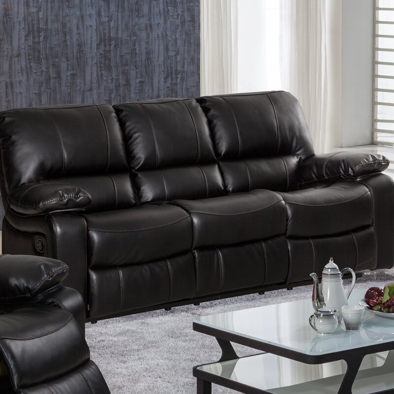 Layla Breathing Leather Reclining Sofa : black leather reclining loveseat - islam-shia.org