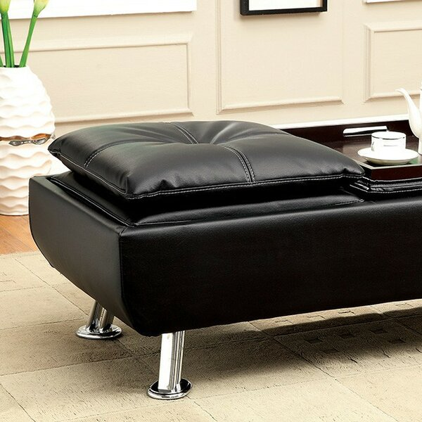 Ron Leather Ottoman by Orren Ellis