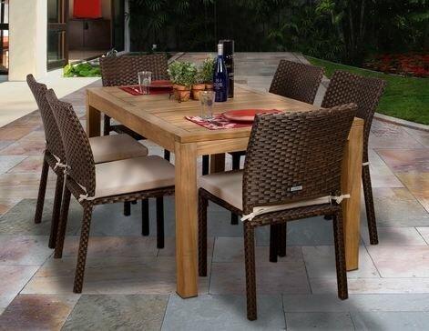 Arango 7 Piece Teak Dining Set with Cushions