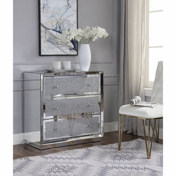 Adamsville 3 Drawer Mirrored Accent Chest