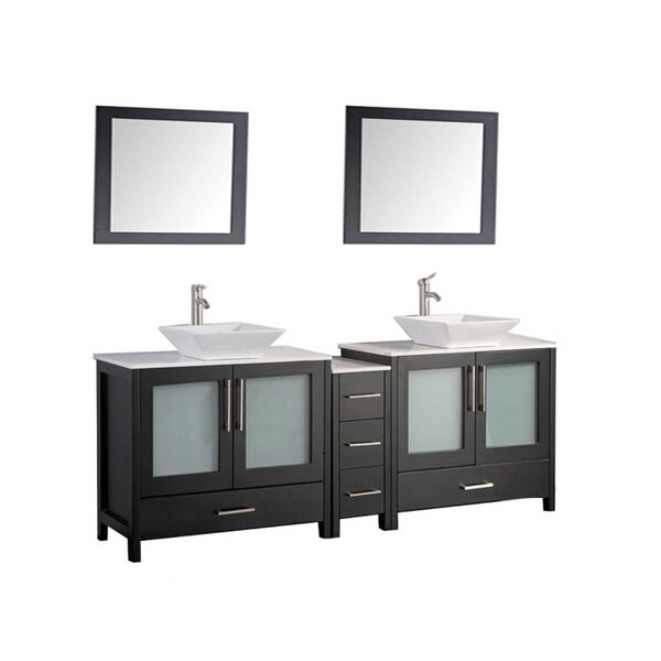 Powley 60 Double Sink Bathroom Vanity Set with Mirror by Orren Ellis