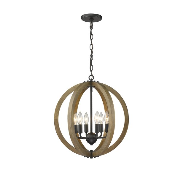 Musab 6 - Light Candle Style Globe Chandelier with Wood Accents by Gracie Oaks Gracie Oaks