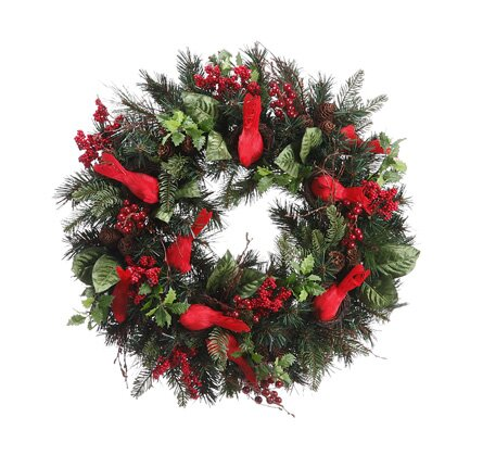 24 Artificial Cardinal Berry Pine Cone Christmas Wreath by Tori Home