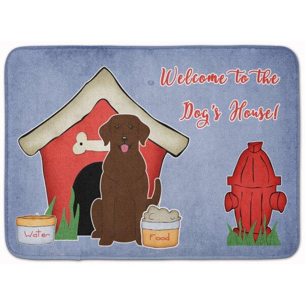 Dog House Labrador Rectangle Microfiber Non-Slip Bath Rug