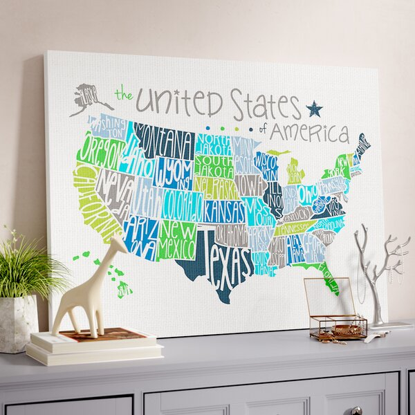 Fenske United States Map Colored Typography Canvas Art by Harriet Bee