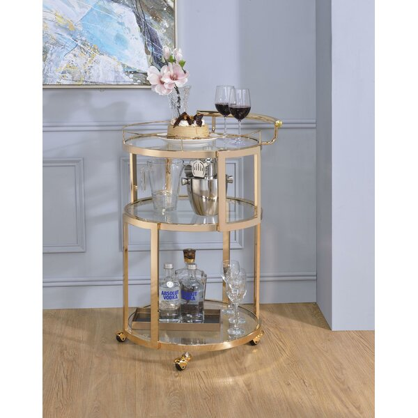Jerald 3 Tier Metal Bar Cart by Everly Quinn