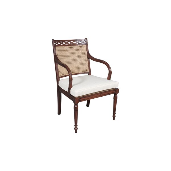 Westminster Linen Upholstered Arm Chair in Brown by Manor Born Furnishings Manor Born Furnishings