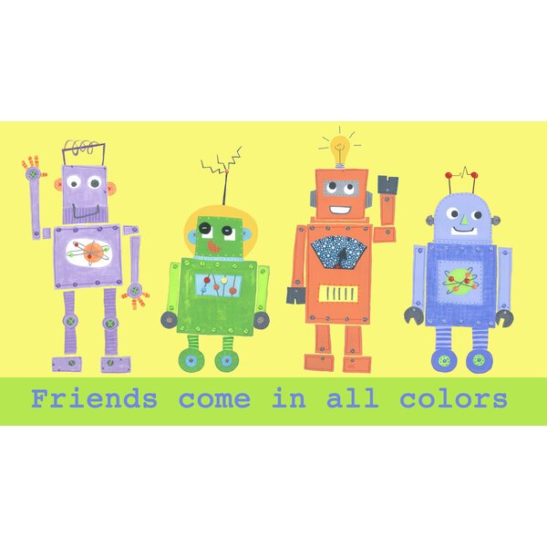 Friends Come In All Colors Robot Canvas Art by The Little Acorn