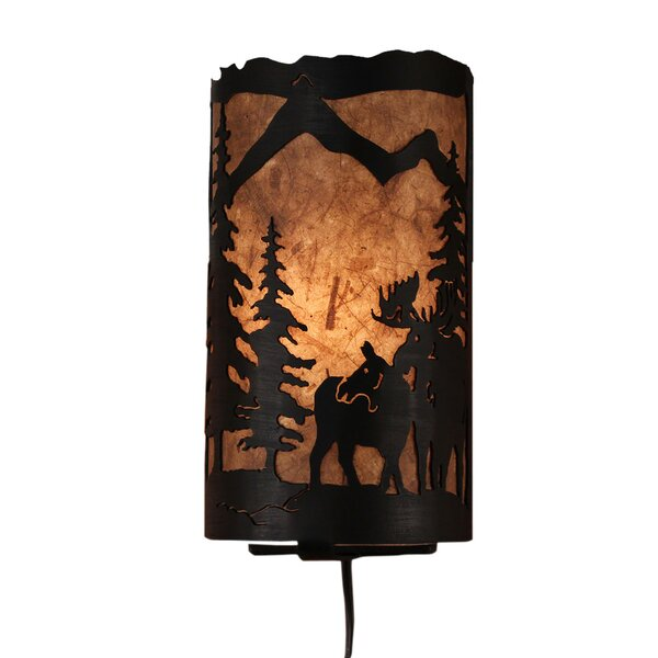 Graciela Moose Scene Panel 1-Light Flush Mount by Loon Peak