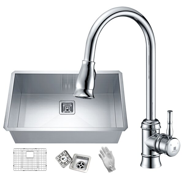 Vanguard Stainless Steel 30 L x 18 W Undermount Kitchen Sink with Faucet by ANZZI
