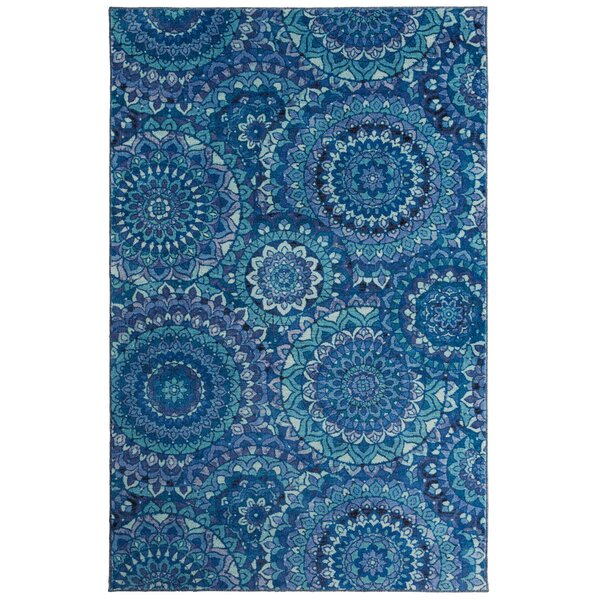 Amblewood Medallion Blue Area Rug by Bungalow Rose