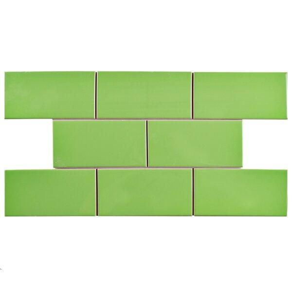 Prospect 3 x 6 Ceramic Subway Tile in Glossy Kiwi Green by EliteTile