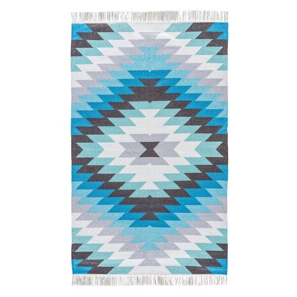 Aradhya Handwoven Flatweave Niagara Blue Indoor/Outdoor Area Rug by Union Rustic