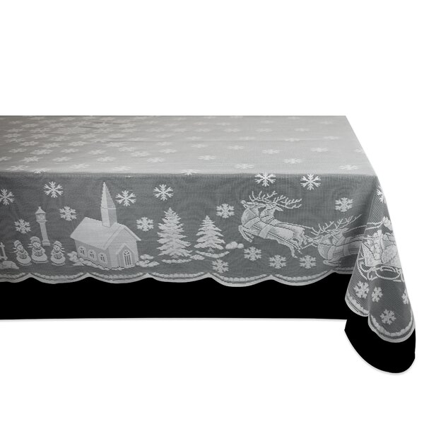 Ezra Snow Village Lace Tablecloth by The Holiday Aisle