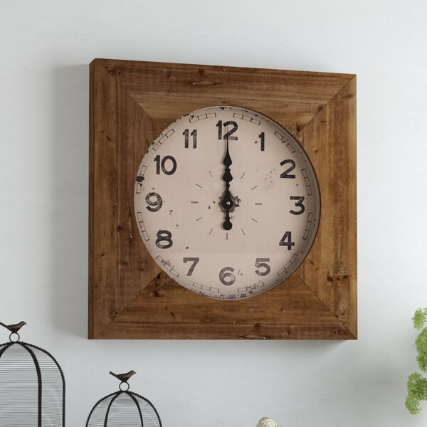 Square Brown Wood Wall Clock by August Grove