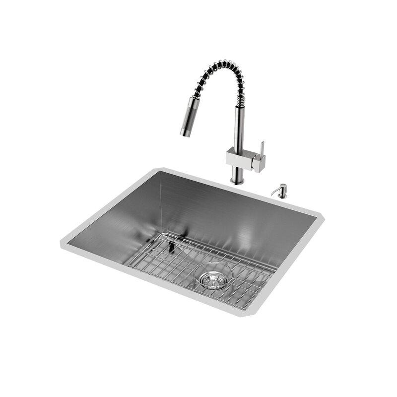 VIGO 23 inch Undermount Single Bowl 16 Gauge Stainless Steel Kitchen ...