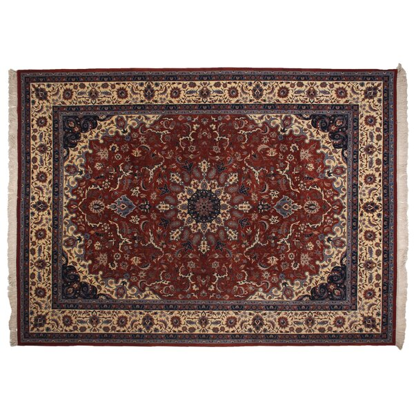One-of-a-Kind Super Fine Hand-Woven Wool Red/Ivory Area Rug by Exquisite Rugs