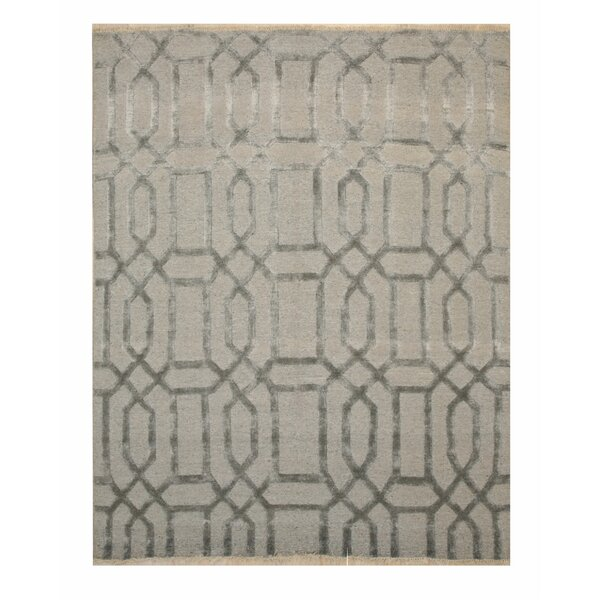 Stuart Transitional Abstract Hand-Knotted Wool Gray Area Rug by Rosdorf Park