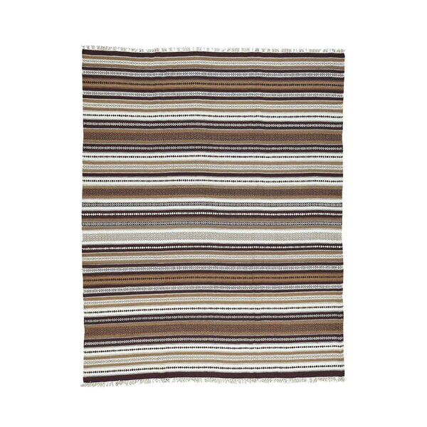 Flat Weave Striped Durie Kilim Hand-Knotted Chocolate Brown/Ivory Area Rug by Bloomsbury Market