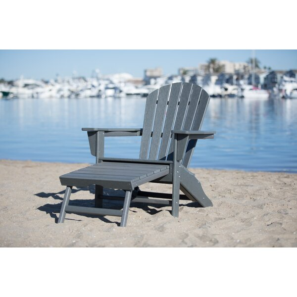 Corinne Patio Plastic Adirondack Chair with Ottoman by Longshore Tides Longshore Tides
