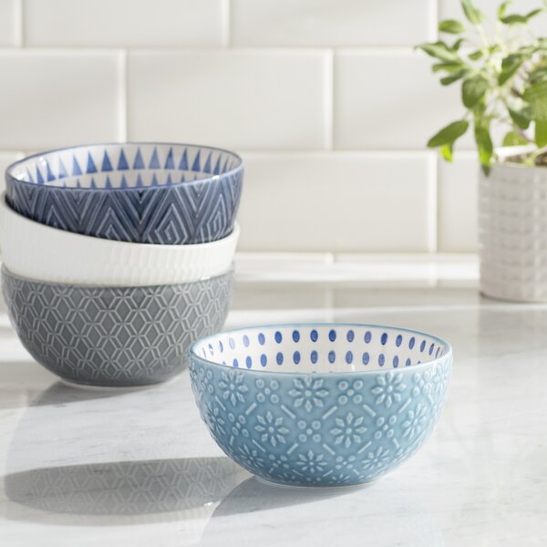 Petunia 28 oz. 4 Piece Pad Print Bowl Set by Mint Pantry