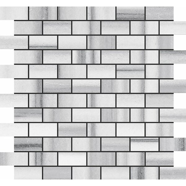 Horizon Brick 1 x 2 Stone Mosaic Tile in White Polished by Parvatile