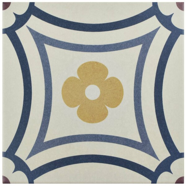 Grotta 7.88 x 7.88 Porcelain Field Tile in White/Blue by EliteTile