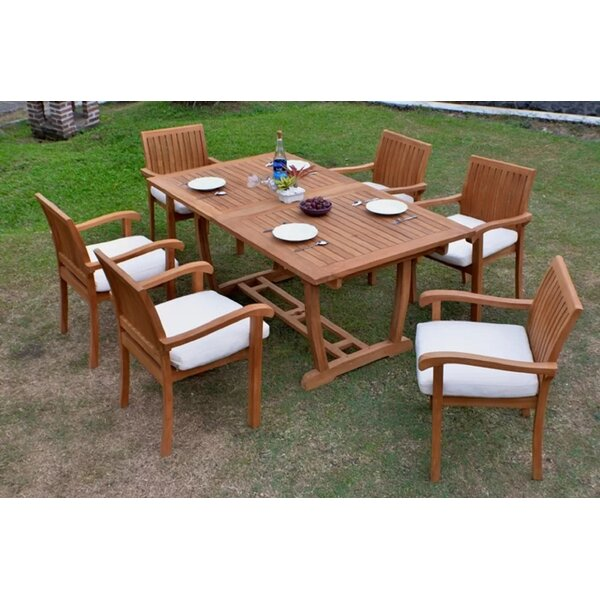 Pico Luxurious 7 Piece Teak Dining Set by Rosecliff Heights