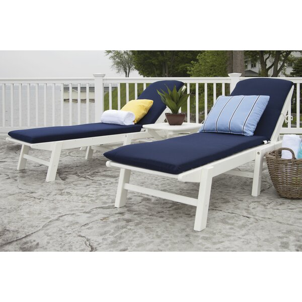 Nautical Reclining Chaise Lounges Set with Cushion and Table by POLYWOOD POLYWOOD®