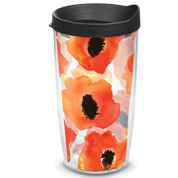 Garden Party Watercolor Poppy Plastic Travel Tumbler by Tervis Tumbler