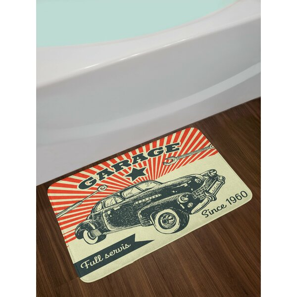 Car and Garage Advertising Poster Picture with Grunge Effects 1960s Non-Slip Plush Bath Rug by East Urban Home