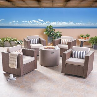 Aarhus Outdoor 5 Piece Rattan Sofa Seating Group with Cushions By Brayden Studio